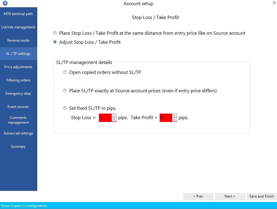 Ustawienie SL i TP w Forex Copier2